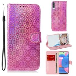 Laser Circle Shining Leather Wallet Phone Case for Samsung Galaxy A30s - Pink