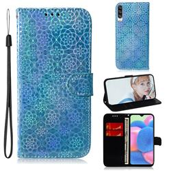 Laser Circle Shining Leather Wallet Phone Case for Samsung Galaxy A30s - Blue