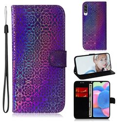 Laser Circle Shining Leather Wallet Phone Case for Samsung Galaxy A30s - Purple