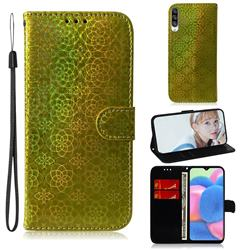 Laser Circle Shining Leather Wallet Phone Case for Samsung Galaxy A30s - Golden