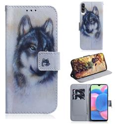 Snow Wolf PU Leather Wallet Case for Samsung Galaxy A30s