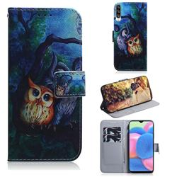Oil Painting Owl PU Leather Wallet Case for Samsung Galaxy A30s