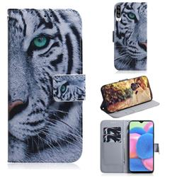 White Tiger PU Leather Wallet Case for Samsung Galaxy A30s