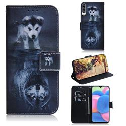 Wolf and Dog PU Leather Wallet Case for Samsung Galaxy A30s