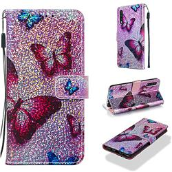 Blue Butterfly Sequins Painted Leather Wallet Case for Samsung Galaxy A30s
