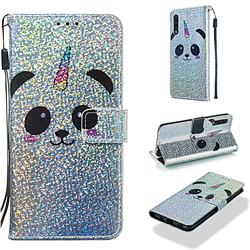 Panda Unicorn Sequins Painted Leather Wallet Case for Samsung Galaxy A30s
