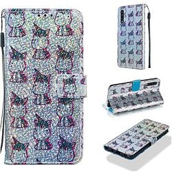 Little Unicorn Sequins Painted Leather Wallet Case for Samsung Galaxy A30s