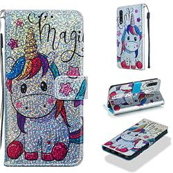 Star Unicorn Sequins Painted Leather Wallet Case for Samsung Galaxy A30s