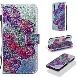 Glutinous Flower Sequins Painted Leather Wallet Case for Samsung Galaxy A30s