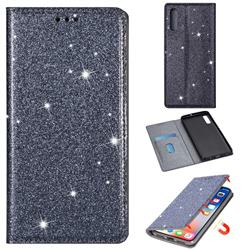 Ultra Slim Glitter Powder Magnetic Automatic Suction Leather Wallet Case for Samsung Galaxy A30s - Gray