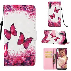 Rose Butterfly 3D Painted Leather Wallet Case for Samsung Galaxy A30s
