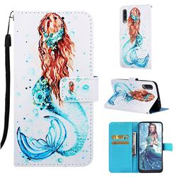 Mermaid Matte Leather Wallet Phone Case for Samsung Galaxy A30s