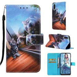 Mirror Cat Matte Leather Wallet Phone Case for Samsung Galaxy A30s