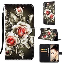 Black Rose Matte Leather Wallet Phone Case for Samsung Galaxy A30s
