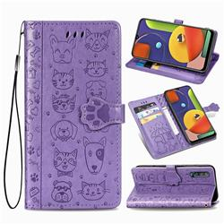 Embossing Dog Paw Kitten and Puppy Leather Wallet Case for Samsung Galaxy A30s - Purple