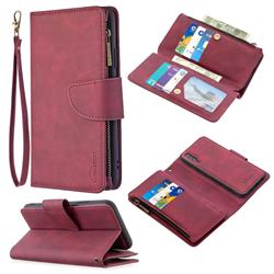 Binfen Color BF02 Sensory Buckle Zipper Multifunction Leather Phone Wallet for Samsung Galaxy A30s - Red Wine