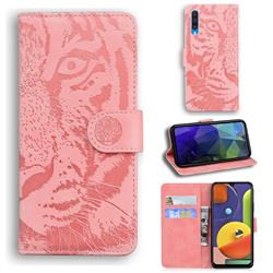 Intricate Embossing Tiger Face Leather Wallet Case for Samsung Galaxy A30s - Pink