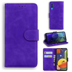 Retro Classic Skin Feel Leather Wallet Phone Case for Samsung Galaxy A30s - Purple