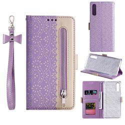 Luxury Lace Zipper Stitching Leather Phone Wallet Case for Samsung Galaxy A30s - Purple