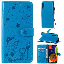 Embossing Bee and Cat Leather Wallet Case for Samsung Galaxy A30s - Blue