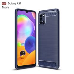 Luxury Carbon Fiber Brushed Wire Drawing Silicone TPU Back Cover for Samsung Galaxy A31 - Navy