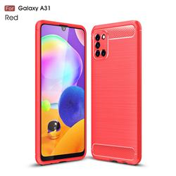 Luxury Carbon Fiber Brushed Wire Drawing Silicone TPU Back Cover for Samsung Galaxy A31 - Red