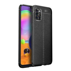 Luxury Auto Focus Litchi Texture Silicone TPU Back Cover for Samsung Galaxy A31 - Black