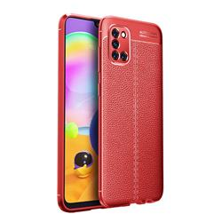Luxury Auto Focus Litchi Texture Silicone TPU Back Cover for Samsung Galaxy A31 - Red