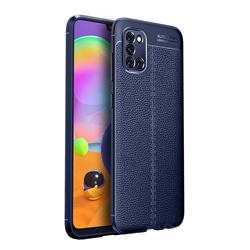 Luxury Auto Focus Litchi Texture Silicone TPU Back Cover for Samsung Galaxy A31 - Dark Blue