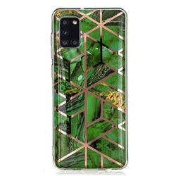 Green Rhombus Galvanized Rose Gold Marble Phone Back Cover for Samsung Galaxy A31