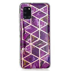 Purple Rhombus Galvanized Rose Gold Marble Phone Back Cover for Samsung Galaxy A31