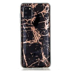 Black Galvanized Rose Gold Marble Phone Back Cover for Samsung Galaxy A31