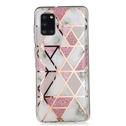 Pink Rhombus Galvanized Rose Gold Marble Phone Back Cover for Samsung Galaxy A31