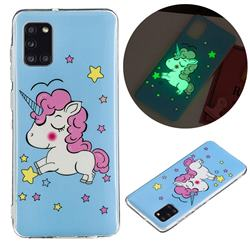 Stars Unicorn Noctilucent Soft TPU Back Cover for Samsung Galaxy A31