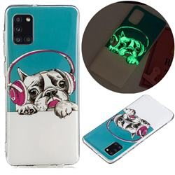 Headphone Puppy Noctilucent Soft TPU Back Cover for Samsung Galaxy A31