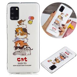 Cute Cat Noctilucent Soft TPU Back Cover for Samsung Galaxy A31