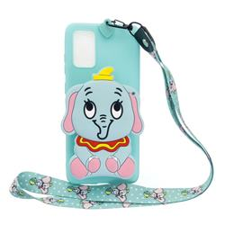 Blue Elephant Neck Lanyard Zipper Wallet Silicone Case for Samsung Galaxy A31
