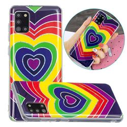 Rainbow Heart Painted Galvanized Electroplating Soft Phone Case Cover for Samsung Galaxy A31
