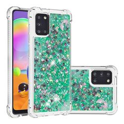 Dynamic Liquid Glitter Sand Quicksand TPU Case for Samsung Galaxy A31 - Green Love Heart
