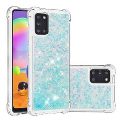 Dynamic Liquid Glitter Sand Quicksand TPU Case for Samsung Galaxy A31 - Silver Blue Star