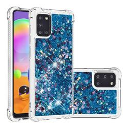 Dynamic Liquid Glitter Sand Quicksand TPU Case for Samsung Galaxy A31 - Blue Love Heart