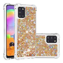 Dynamic Liquid Glitter Sand Quicksand TPU Case for Samsung Galaxy A31 - Rose Gold Love Heart