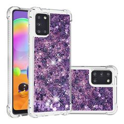 Dynamic Liquid Glitter Sand Quicksand Star TPU Case for Samsung Galaxy A31 - Purple