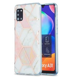 Pink White Marble Pattern Galvanized Electroplating Protective Case Cover for Samsung Galaxy A31