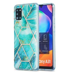 Blue Sea Marble Pattern Galvanized Electroplating Protective Case Cover for Samsung Galaxy A31