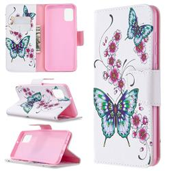 Peach Butterflies Leather Wallet Case for Samsung Galaxy A31