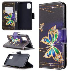 Golden Shining Butterfly Leather Wallet Case for Samsung Galaxy A31