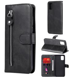 Retro Luxury Zipper Leather Phone Wallet Case for Samsung Galaxy A31 - Black