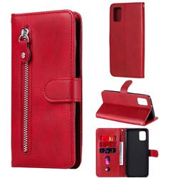Retro Luxury Zipper Leather Phone Wallet Case for Samsung Galaxy A31 - Red