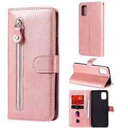 Retro Luxury Zipper Leather Phone Wallet Case for Samsung Galaxy A31 - Pink
